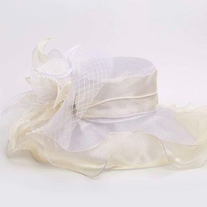 Accessories - Wide Brim Derby Church Ruffle Hat